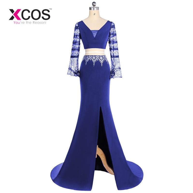 XCOS Purple Two Pieces Sexy   Prom     Dresses   2018 Beading Mermaid Party   Dress   robe de soire Side Slit Evening Gowns vestidos elegant