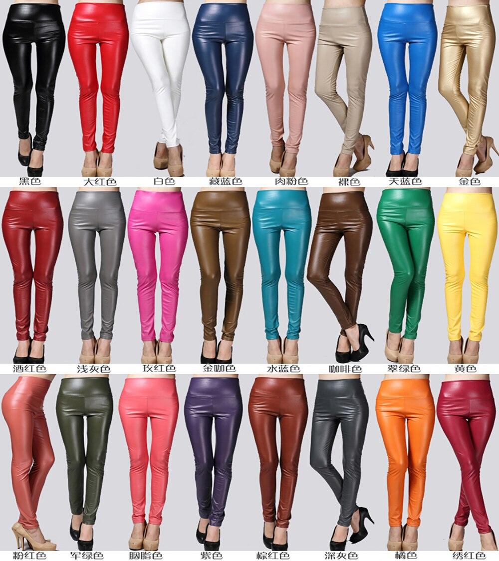Image 2 - 2019 Утепленные зимние женские брюки из искусственной кожи с высокой талией, эластичные флисовые Стрейчевые узкие женские брюки карандаш, обтягивающие брюки, 25 цветов-in Штаны и капри from Женская одежда on AliExpress