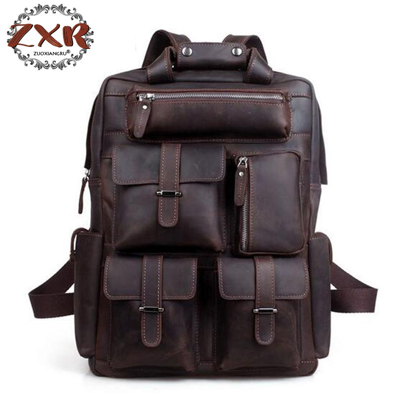 European And American Style Mens Retro Leather Bag Fashion Backpack Laptop Multi-pocket Hikintravel Backpack Shoulder BagEuropean And American Style Mens Retro Leather Bag Fashion Backpack Laptop Multi-pocket Hikintravel Backpack Shoulder Bag