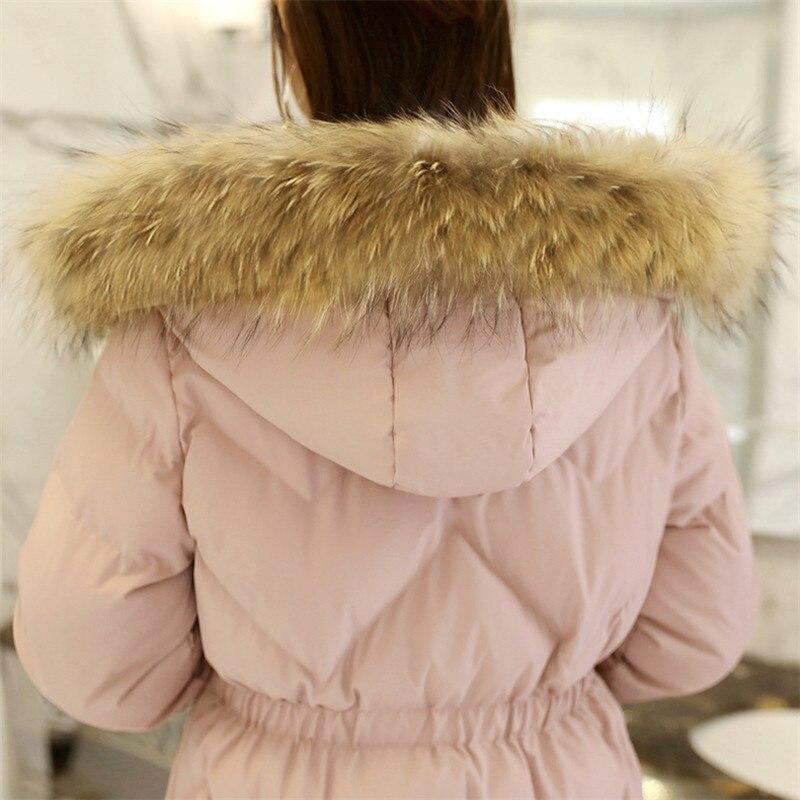 Mulheres Inverno Casaco Longo Para Baixo Casaco 2018 Moda Rosa Com Capuz Gola De Pele de Algodão Acolchoado Engrossar Parkas Mujer Magro Sobretudo Ls10 - 5