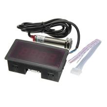 LED 4 Digital Tachometer RPM Speed Meter Red + NPN Hall Proximity Switch Sensor