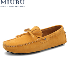 MIUBU Brand Big Size Cow Suede Leather Men Flats 2019 New Casual Shoes High Quality Loafers Moccasin Driving