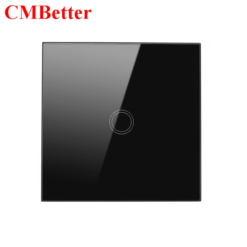 CMBetter Touch Switch ON OFF Control 1 Gang 1 Way EU Standard Crystal Glass Panel Led Wall Switch Waterproof Sensor Light Switch smart home us black 1 gang touch switch screen wireless remote control wall light touch switch control with crystal glass panel