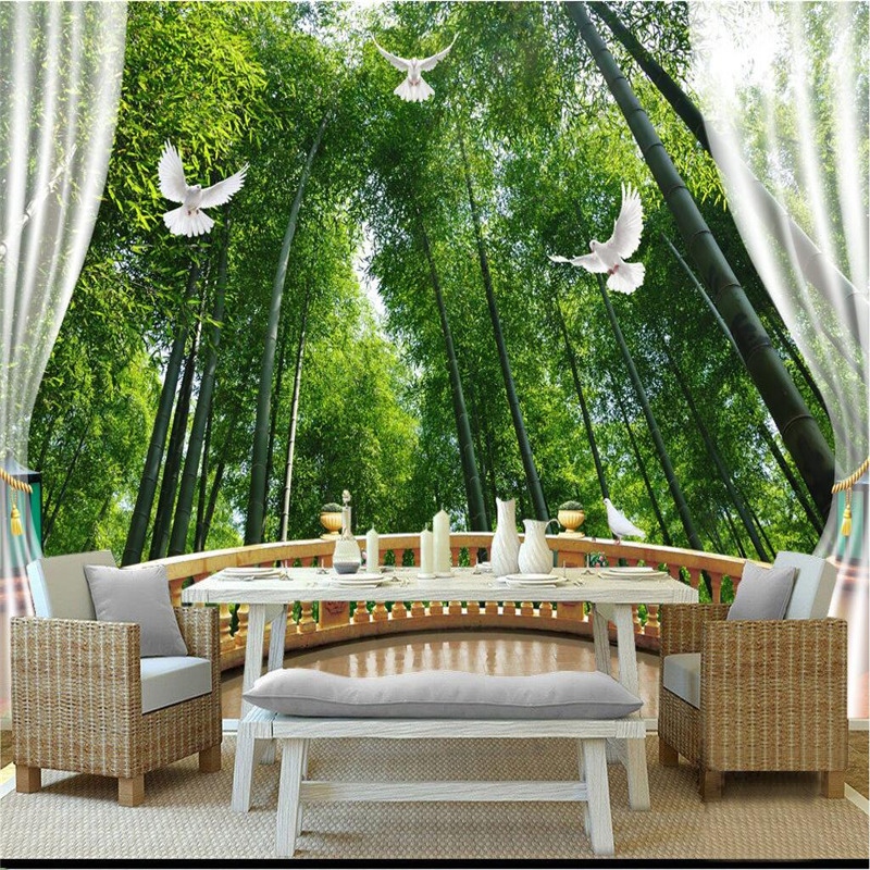 Custom Bamboo Print Wallpaper Fresh Forest Wall Paper Embossed Non-Woven TV Background Study Bedroom Kitchen 3d Wall Murals custom wall papers home decor flamingo sea 3d wallpaper murals tv background kitchen study bedroom living room 3d wall murals