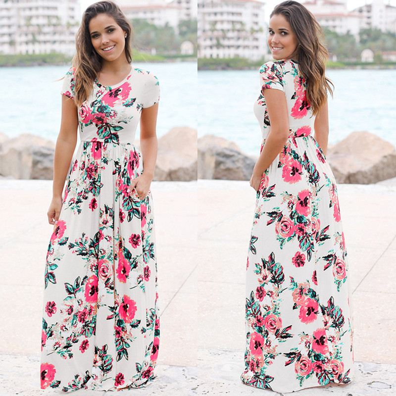 19 Summer Long Dress Floral Print Boho Beach Dress Tunic Maxi Dress Women Evening Party Dress Sundress Vestidos de festa XXXL 22