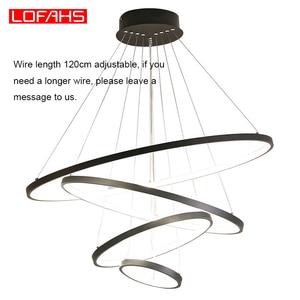 Image 5 - LOFAHS מודרני Led תליון אור לתלות אלומיניום מעגל טבעת מנורת מרחוק תאורה למטבח סלון חדר אוכל luminaire suspendu