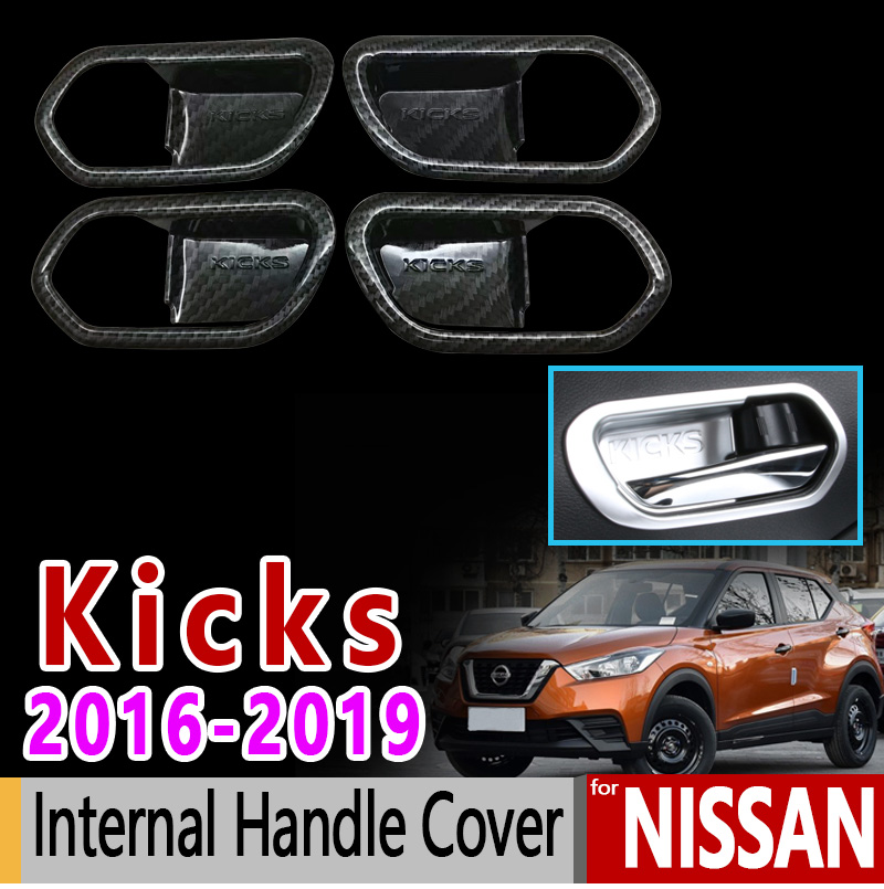 Carbon Fiber Car Inner Door Handle bowl cover trim For Nissan KICKS 2017 2018