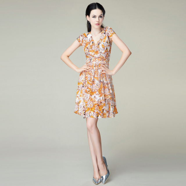 Bohemian Silk Chiffon Dress 1303 100% Natural Silk Women Dress Exclusive  Desigual Summer New Party Dress S 257d014edb32