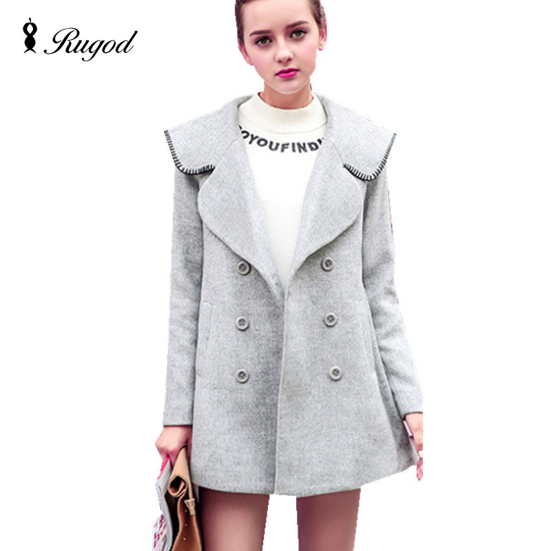 2016 Autumn and Winter Clothing Women Fashion Casual Double Breasted Gray Wool Coat Jacket Female High