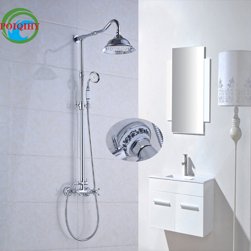Chrome Finish Wall Mount Dual Handles with Hand Held Shower 8 inch Bathroom Shower Faucet Mixer Taps chrome bathroom thermostatic mixer shower faucet set dual handles wall mount bath shower kit with 8 rainfall showerhead