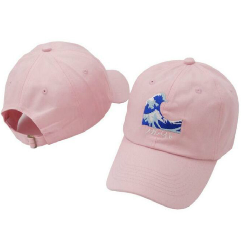 b111fd7a641 which in shower Black Pink White Embroidered Fashion Dad Hat Women Men Wave  Baseball Cap Hip Hop Male Female Snapback Golf Hat-in Baseball Caps from  Men s ...