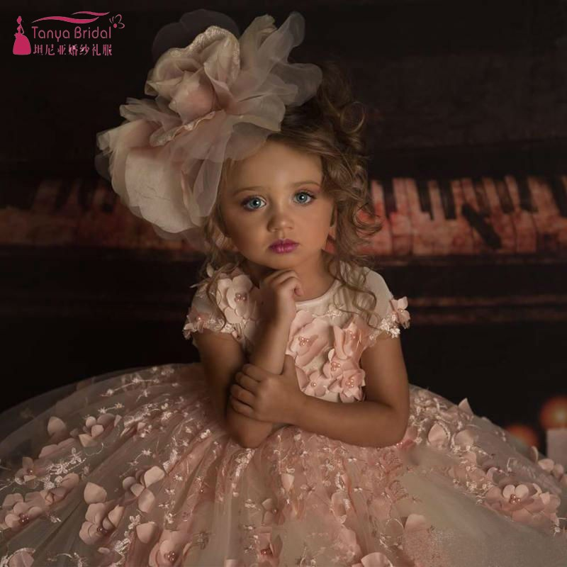 Adorable Pink   Flower     Girl     Dresses   Bead Decoration 2019 New 3D Floral Appliques   Girl   Wedding Party Exchange   Dress   SS151
