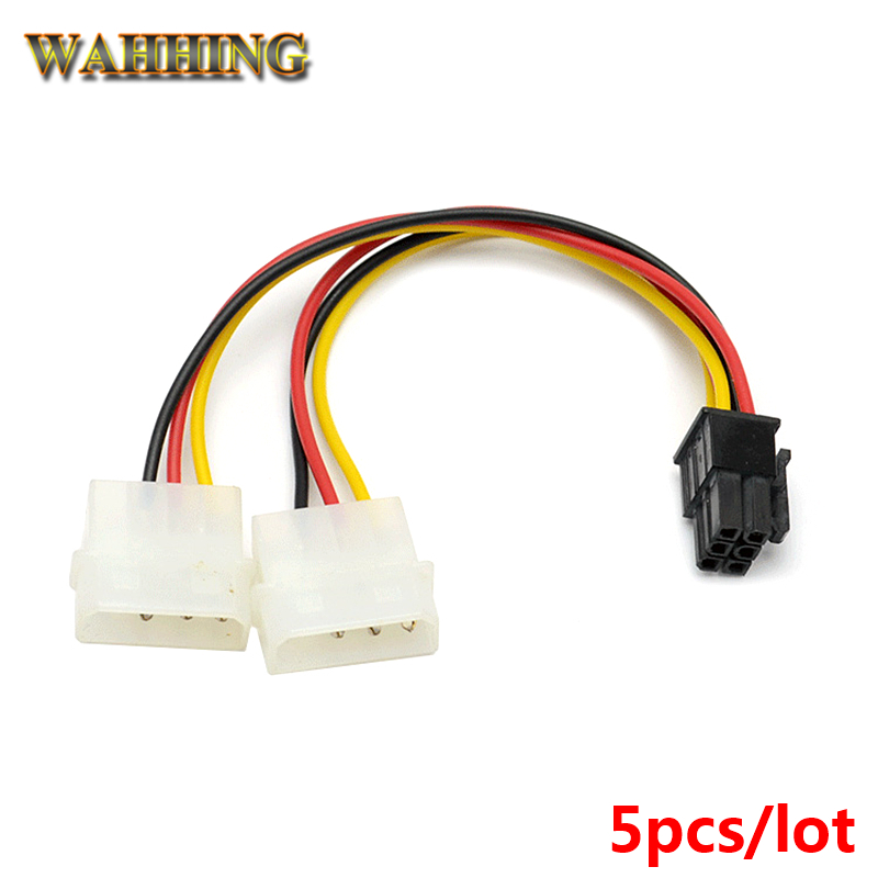 5pcs New 2 x Molex To PCI-E Power Adapter 4Pin 4 Pin 6 Pin 6Pin Graphics Video Card Converter Cable HY261 graphics connection power supply cable cpu molex 8pin to 2 pci e 8 6 2 pin graphics card connector internal cable power splitter