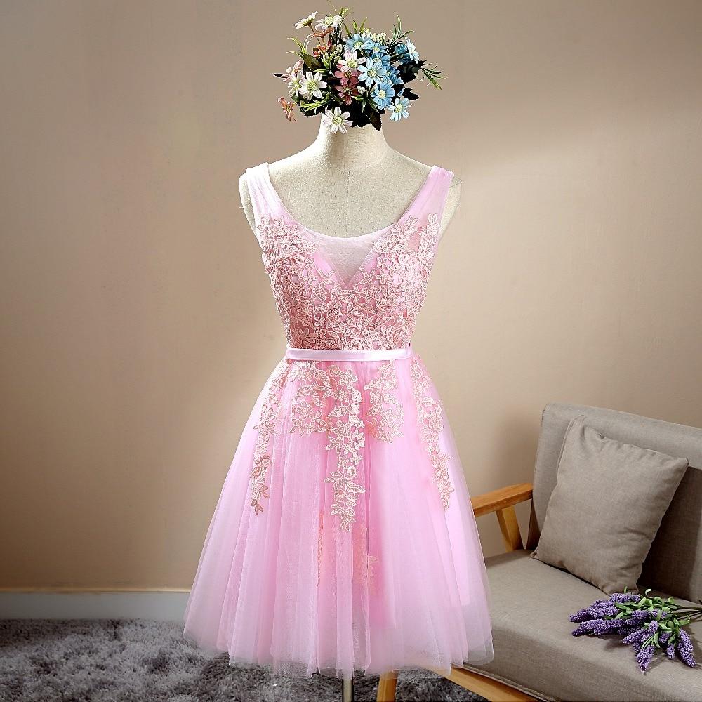 Fantástico Vestido De Dama De Longitud De La Rodilla Ideas Ornamento ...