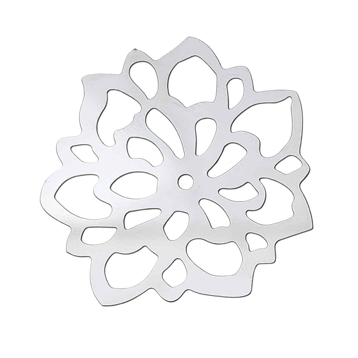 DoreenBeads Filigree Stainless Steel Embellishments Findings Flower Silver Tone Hollow 35mm(1 3/8) x 34mm(1 3/8), 1 PieceDoreenBeads Filigree Stainless Steel Embellishments Findings Flower Silver Tone Hollow 35mm(1 3/8) x 34mm(1 3/8), 1 Piece