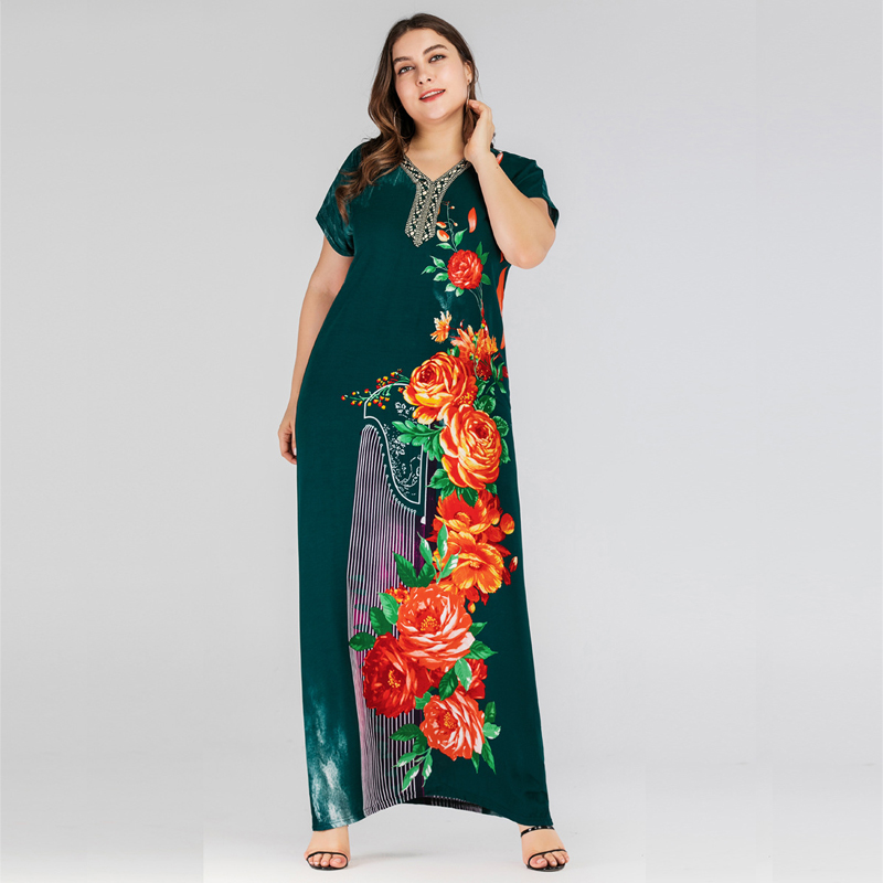 US $32.95 |Plus Size Bohemian Maxi Dresses 2019 Ethnic Vintage Women Short  Sleeve Urban Casual Floral Embroidery Cotton Green Long Dress-in Dresses ...