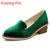 2017 Hot Sale Fashion Large Size Thick Heel Shallow Pumps Pointed Toe Slip On Women Brand