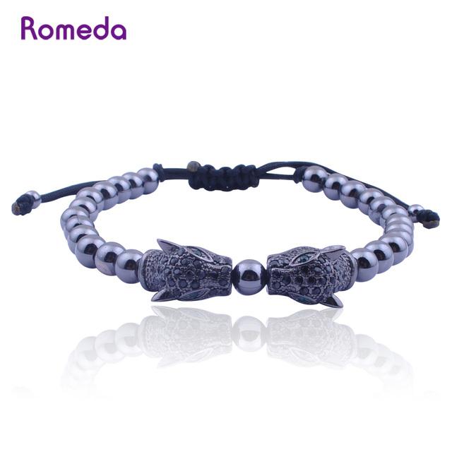 Homens charme pulseiras de contas pulseira cabeça de leopardo preto fresco micro pave configuração pave cabeça de leão jóias mens pulseiras & bangles