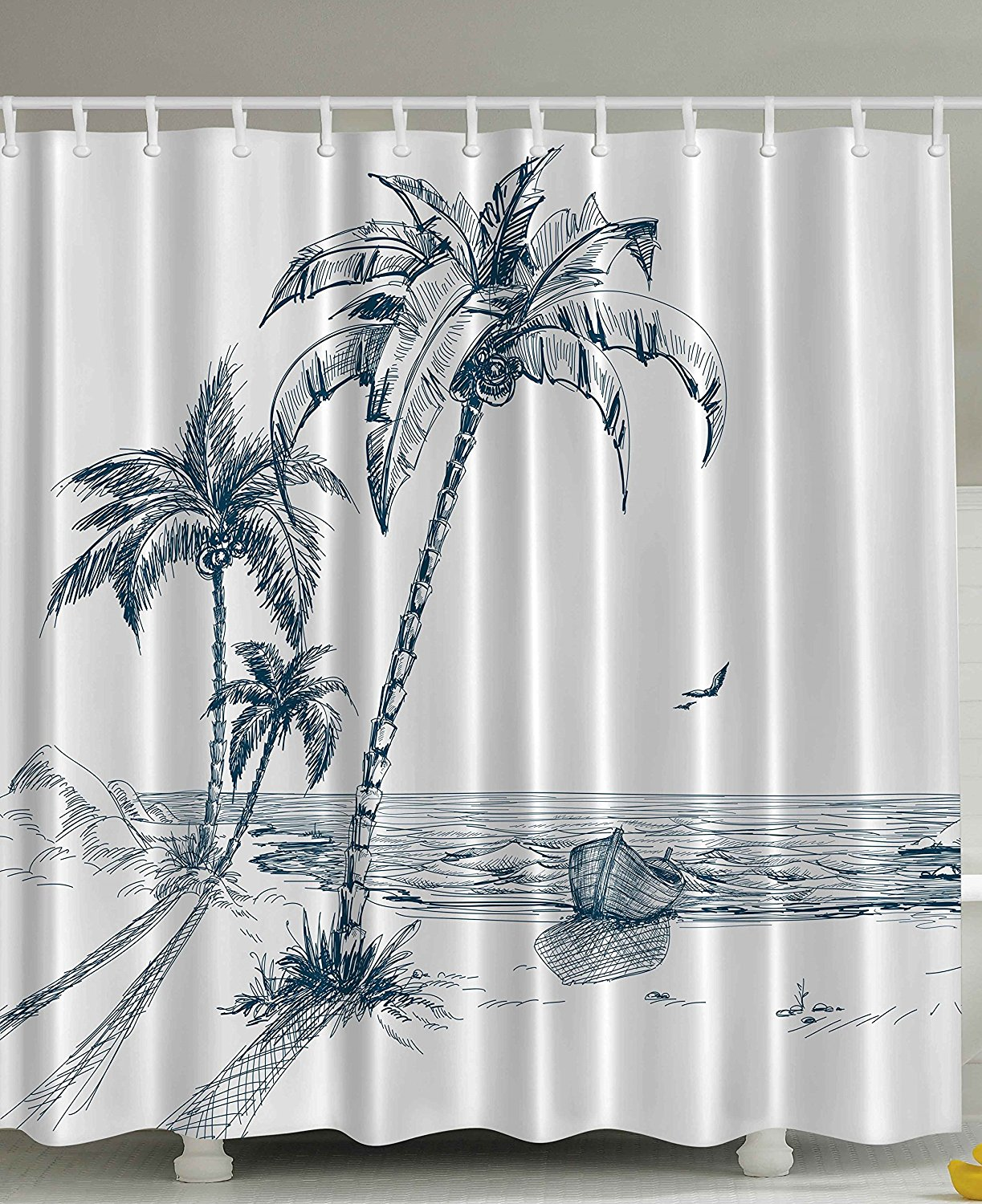 Memory Home Nautical Shower Curtain Palms Beach Tropical Decor Shadow Wooden Boat Ocean Waves