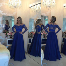 Long Sleeve Prom Dresses 2017 Royal Blue Lace Appliqued Long Evening Gowns A-Line Women Pageant Gowns  Sheer  Vestido Formatura