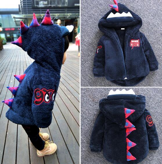 2016 Niños calientes Chicos Chaquetas Tyrannosaurus Niñas Abrigo de Invierno Los Niños de Dibujos Animados prendas de Vestir Exteriores de Los Bebés/Niñas Abajo Chaqueta de Ropa Infantil