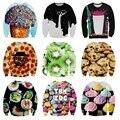 Высокое качество молодежи бейсбол одежда 3D десерт серии личность шаблон печати свитер Хип-Хоп одежды 12-18 лет