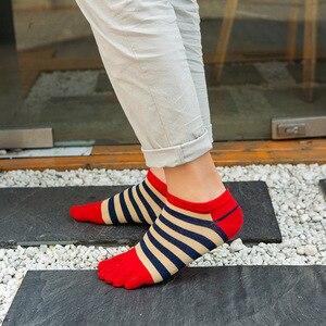 Image 4 - Veridical 5 paires/lot chaussettes en coton avec orteils hommes garçon cheville cinq doigts chaussettes bonne qualité rayé équipage bateau chaussettes mode été