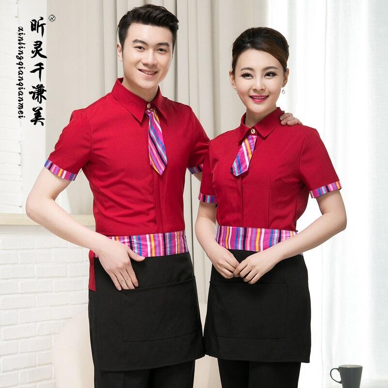 The Waiter Overalls Short Sleeved Star Hotel Work Clothes Summer Female Korean Restaurant Clothing Japan Cook Work Suit J084