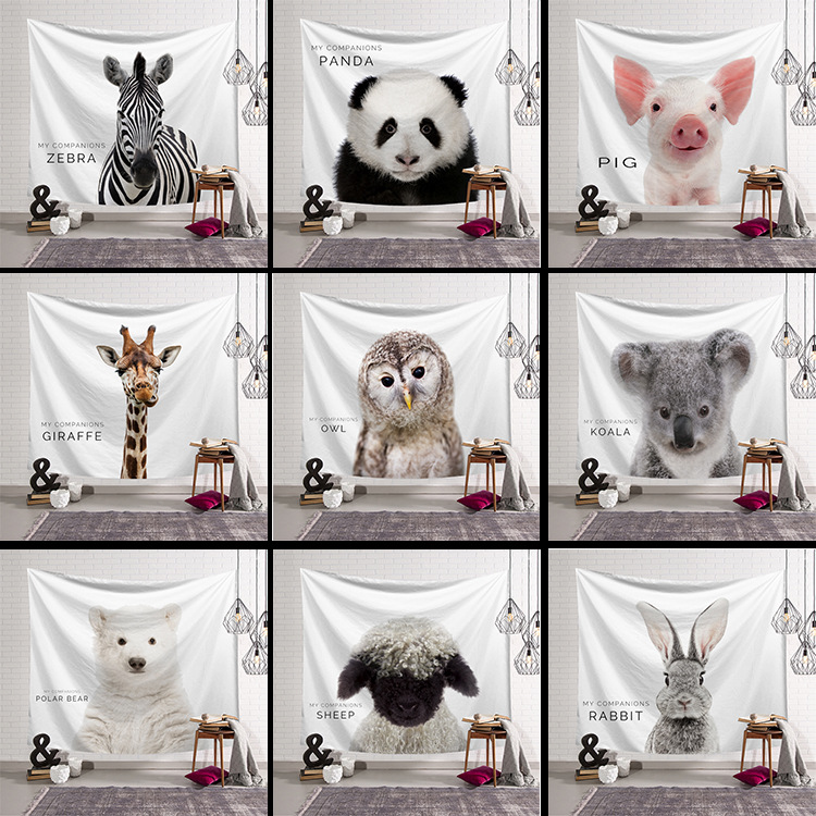 New 3D Creative cute Animal Series Pattern Polyester Tapestry Wall Hanging Mural Living Room Curtain Background Home Decor