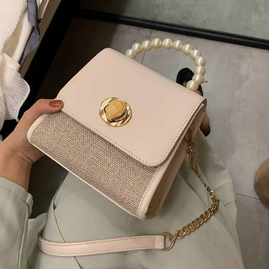 Elegant Female Pearl Tote Bag 2019 Summer New Quality Leather Women's Designer Handbag Chain Shoulder Messenger Bag Travel Bag