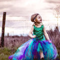 party clothings summer 2016 girl 2pcs clothing set mermaid sleeveless bodysuit+tulle tutu handmade colorful skirts outfits 3-4Y