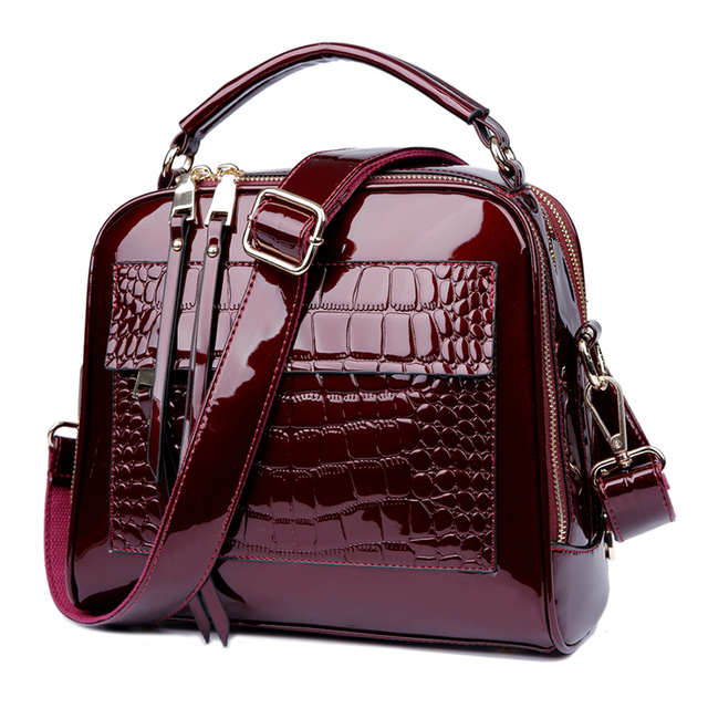 Patent leather handbag in winter