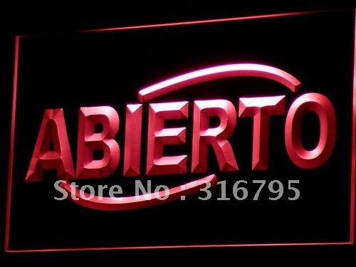 i535 ABIERTO Food Cafe Restaurant NEW LED Neon Light Sign On/Off Swtich 20+ Colors 5 Sizes