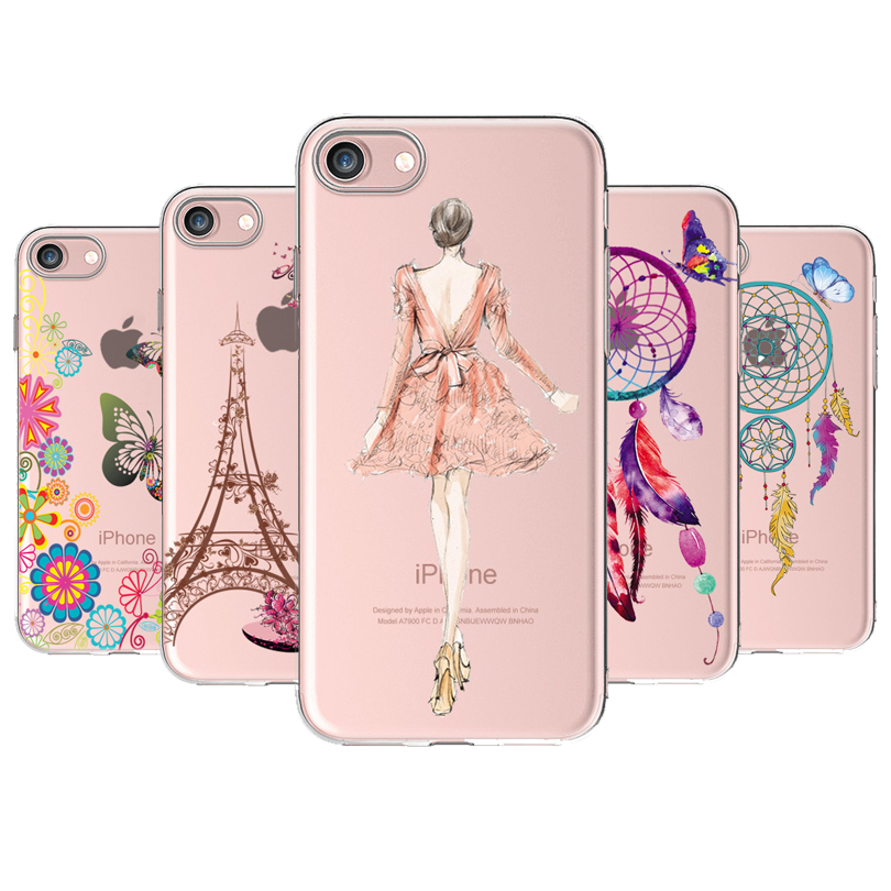 Anti-knock Soft TPU Case For iPhone 7 8 6S Plus Case Cover Celular Phone Capa For iPhone 5S SE Case Pattern Modern Girl Bride