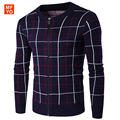 2016 Casual Cotton Mens Autumn Winter Plaid Cardigans Sweaters Overcoat 0 Neck Zipper Herren Patchwork Wool Knitting
