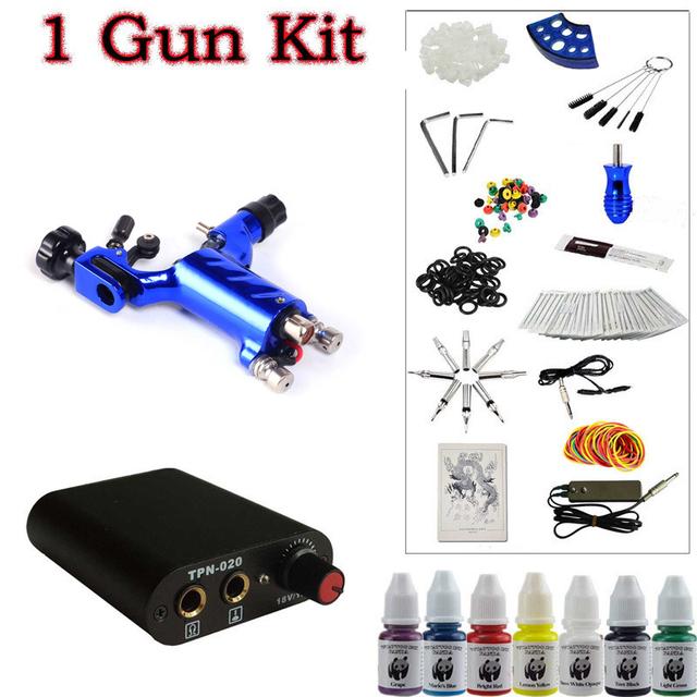 Iniciante 1 Dark blue Dragonfly Tattoo Rotary Machine Gun Power Kit Pé Abastecimento Pedal Agulhas Punho Dica Ink frete grátis