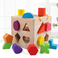 Kids Toys Wooden Shape Sort Geometric Shapes Building Blocks Matching Cognition Training Early Educational For Children