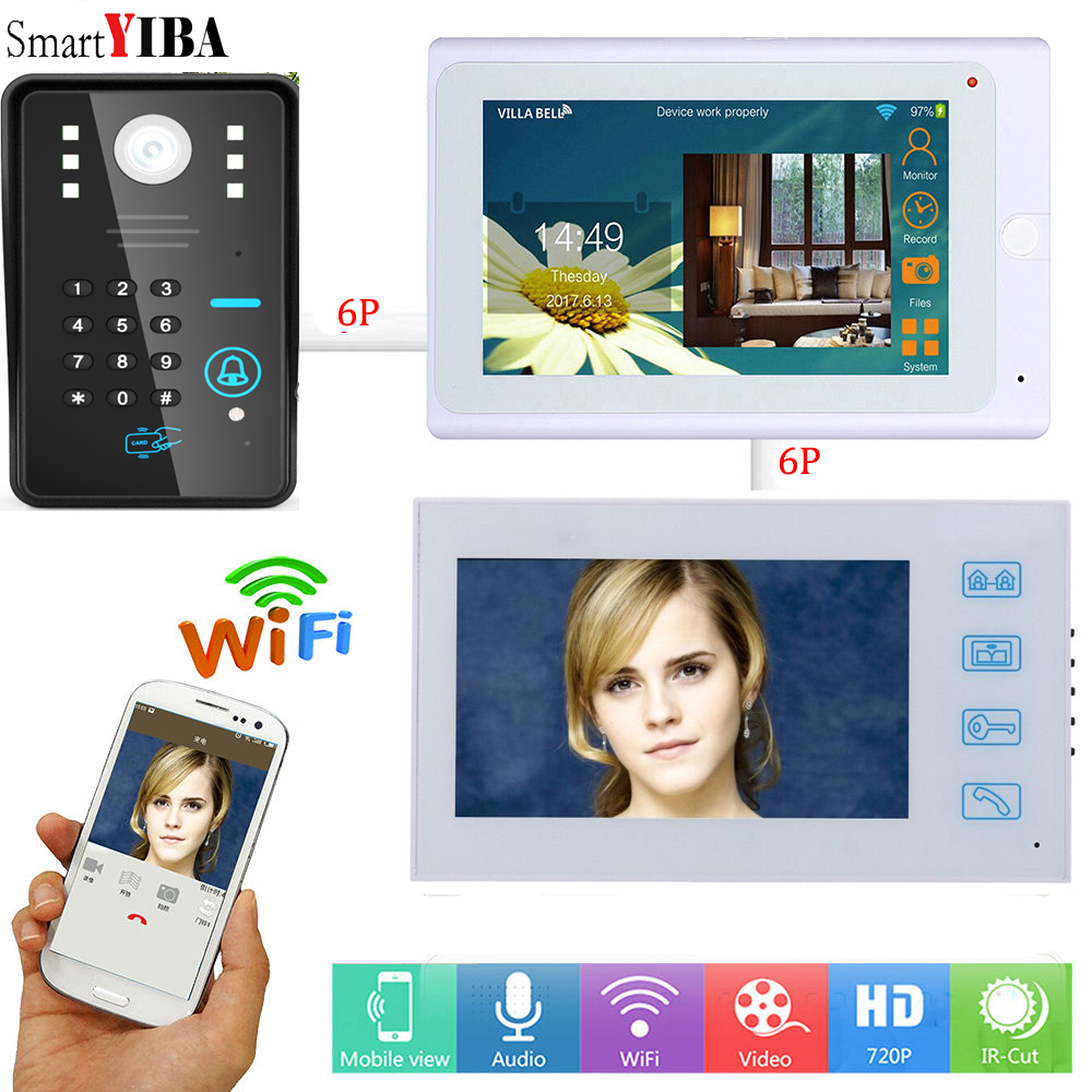 SmartYIBA 7 Inch Wifi Video Interphone APP Remote RFID Password Unlock Video Intercom System Video Door Bell Control 2 Monitor