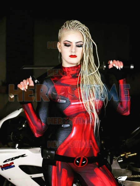 Top Quality Lady Deadpool Cosplay Costumes 3D Print Lycra Spandex Custom Made Female Girls Women Deadpool