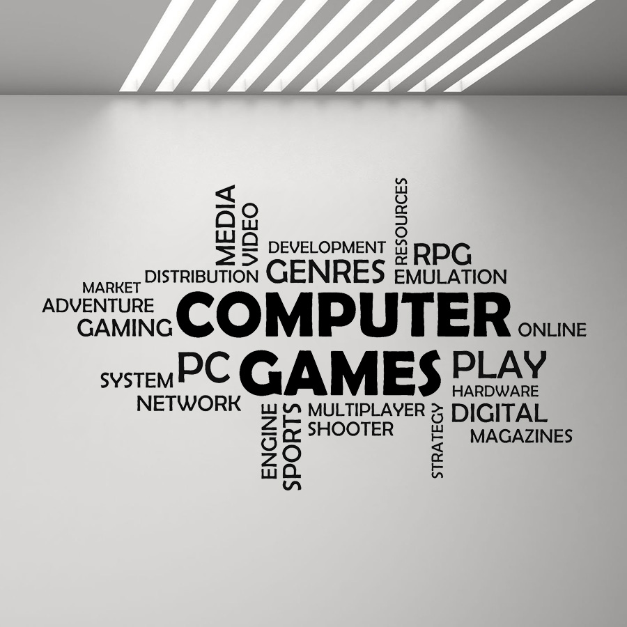 Word Cloud Computer Games Wall Vinyl Decal Boys Bedroom Decor Multiplayer Media Mural Decals Quotes Art Stickers Game Zone G186 image