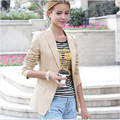 Весна Куртка Женщины Костюм Складная Длинные Рукава Нагрудные Пальто Одной Кнопки Vogue Куртки Плюс Размер Blazer Женщины Blazer Feminino