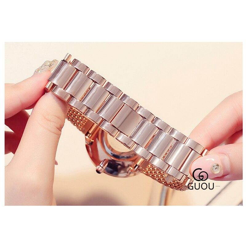 GUANQIN GS19051 Top Nova Marca de Relógios Das Senhoras Das Mulheres relógio de Pulso À Prova D' Água com Céu Preto Dial e Pulseira de Couro - 5