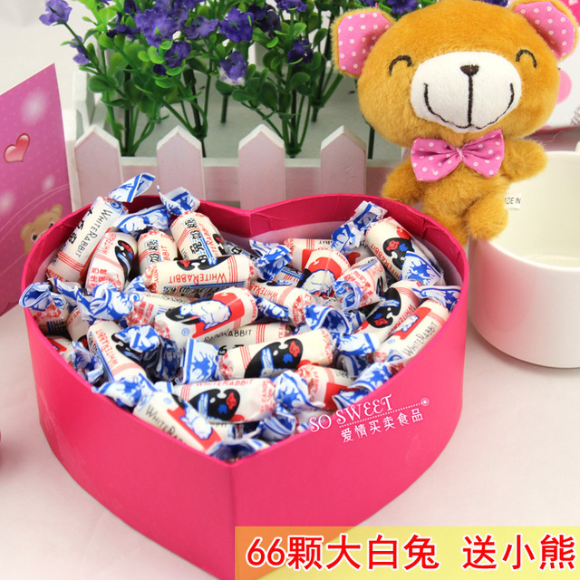 66 White Rabbit Creamy Candy Gift Box Heart Shaped Candy Valentines