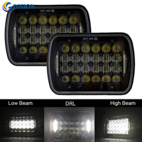 Newest Pair 7 X 6 Inch 85W 5D LED Headlamp DRL High Low Dual Beam For