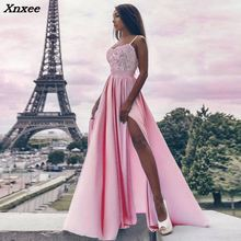 Xnxee 2018 Summer New Solid Long Dress Boho Beach Maxi Splits Women Night Club Evening Party
