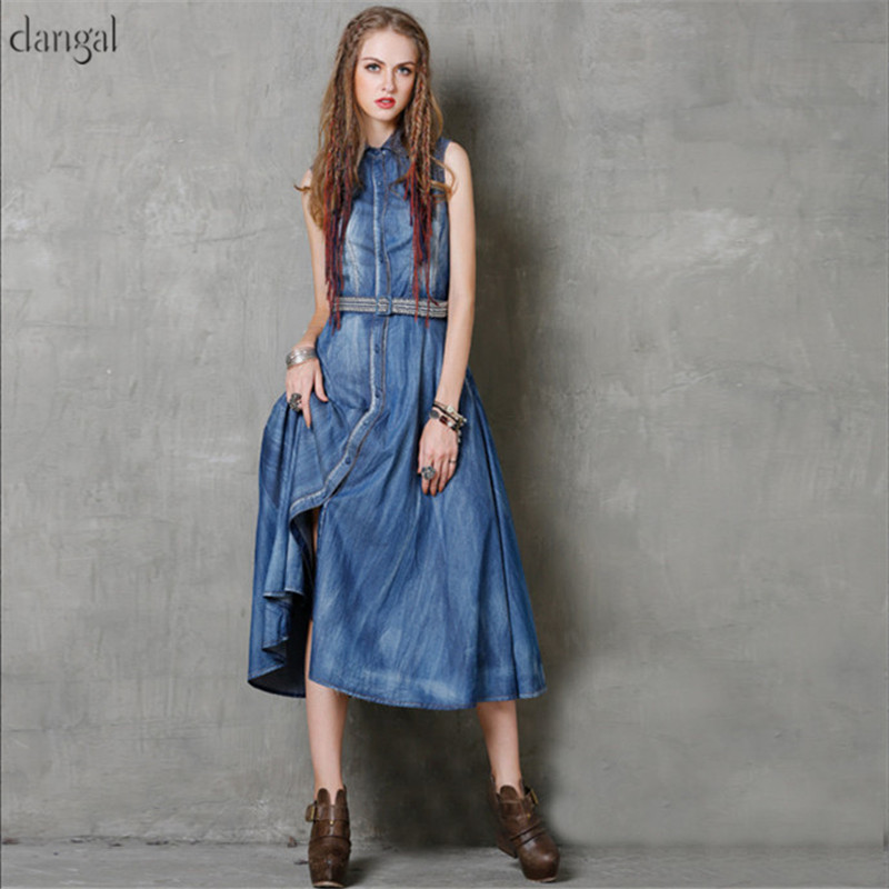 Dangal Summer Women Dress Boho New Denim Dresses Turn-down Collar High Waist Sundress Embroidery Belted A-Line Vestidos 2018