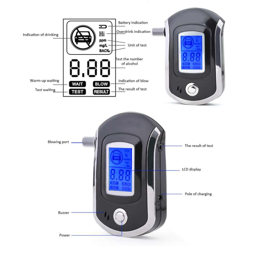 Kỹ Thuật Số chuyên nghiệp Hơi Thở Rượu Bút Thử Máy Hút có MÀN HÌNH LCD & Nbsp với 5 Ống Cảnh Sát Rượu Đỗ Xe Breathalyser