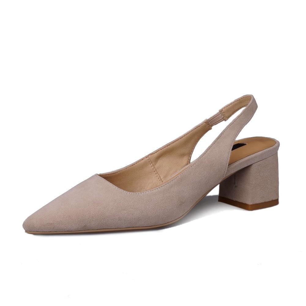2019 elegant lady stałe slingback slip on prawdziwej skóry chunky med obcasy high street moda zakupy model buty w stylu L20 w Średni obcas od Buty na  Grupa 2