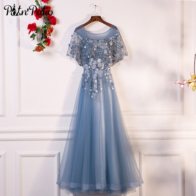 PotN Patio Evening Dresses Long 2018 New O neck With Jacket Luxury Appliques Flower Tulle Formal