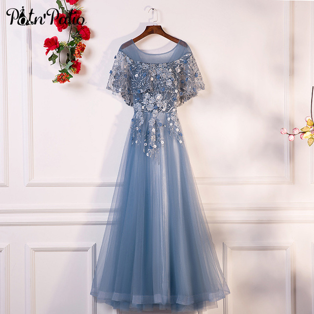 PotN'Patio Evening Dresses Long 2018 New O-neck With Jacket Luxury Appliques Flower Tulle Formal Evening Gown